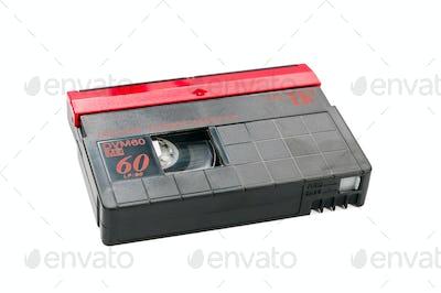 MiniDV video cassette on white background