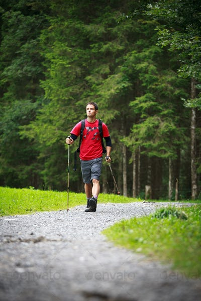 active handsome young man nordic walking/hiking in mountains, en