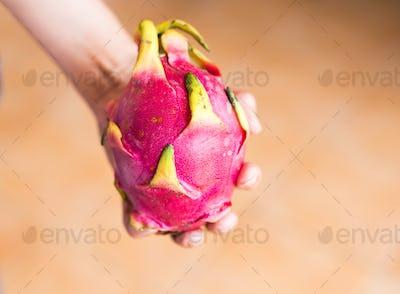 Female hand holds ripe dragon fruit