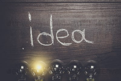 idea concept on wooden background