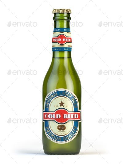 "Beer bottle with label ""cold beer"" isolated on white."