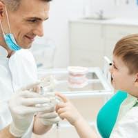 Boy on cosultation of pediatrician dentist using dental jaw model