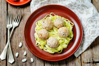 white beans meatballs with zucchini noodles