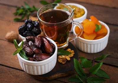 Mix dried fruits  and nuts, and traditional Arabic tea. Ramadan (Ramazan) food.