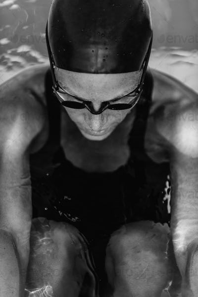Swimming Champion Concentrating