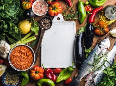 Ingredients for cooking healthy dinner
