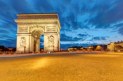 The famous Arc de Triomphe in Paris