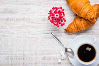 Coffee and Croissant with Copy Space
