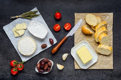 Camembert Cheese, Butter and Bread