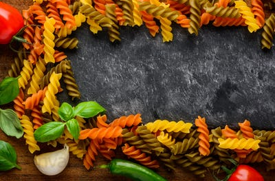Fusilli Pasta with Copy Space Frame