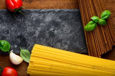 Yellow and Brown Spaghetti Pasta with Copy Space
