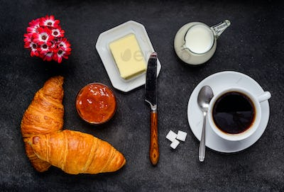 Beakfast Croissant with Coffee
