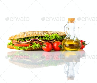 Sandwich with Fresh Vegetables Isolated on White Background