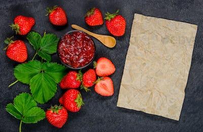 Strawberry Jam marmalade with Copy Space Area