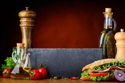 Sandwich with Cooking Ingredients and Copy Space