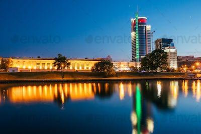 Sunset over central district Nemiga in Minsk, Belarus. Reflectio