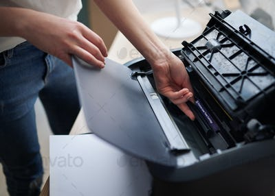 replacement of the cartridge in  laser printer
