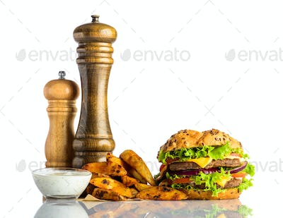Burger with French Fries and Dipping Souce