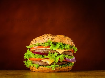 Burger Sandwich with Meat and Vegetables