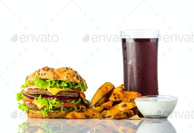 Fast Food Burger, Fries with Cola and Dipping Souce
