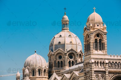 Domes of Cathedral de la Major in Marseille, France. Sunny summe