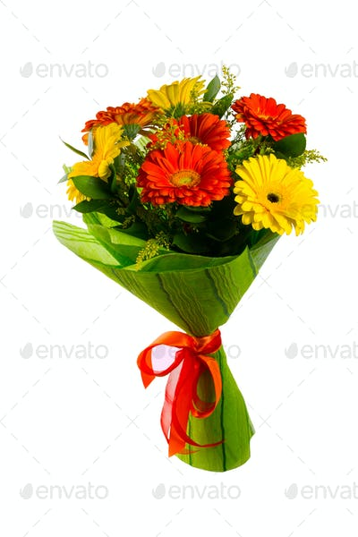 Red and yellow flower bouquet
