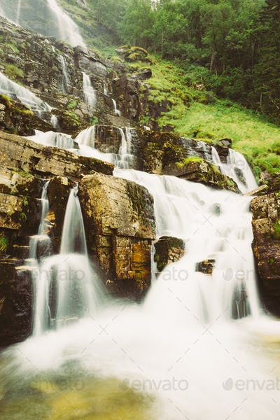 Waterfall in Norway. Amazing and beautiful