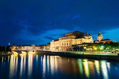 Night View Of Illuminated Stockholm Royal Opera, Sweden