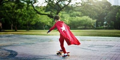 Kid Skateboard Superhero Youth Playful Concept