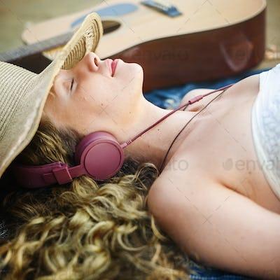 Girl Woman Women Beach Emotion Leisure Relax Concept