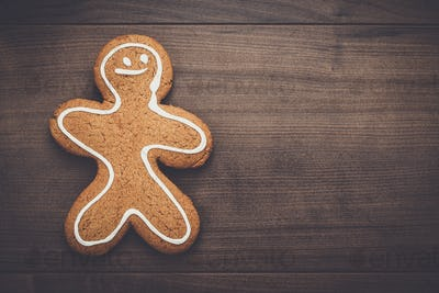 gingerbread cookie on the wooden background