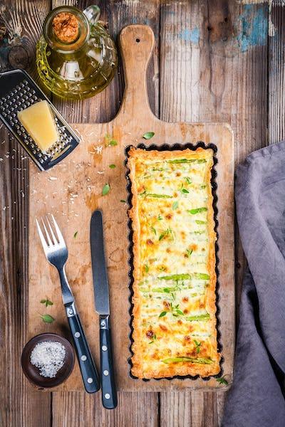 homemade tart with asparagus