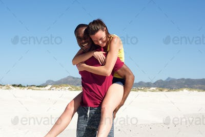 Young couple enjoying themselves on the beach