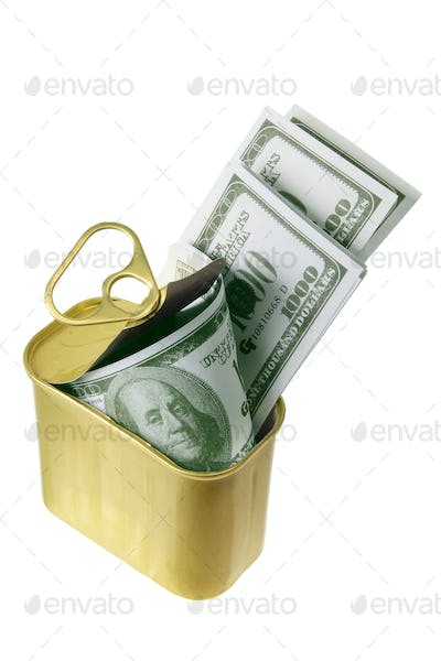Dollar Notes in Tin Can
