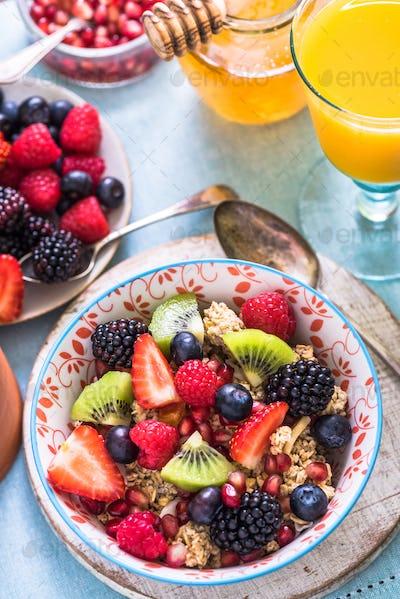 healthy start of summer morning, breakfast bowl