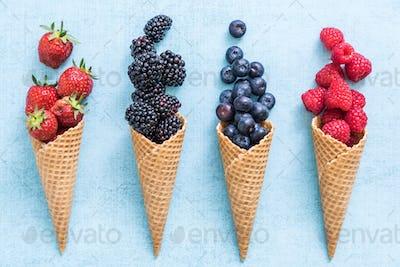 waffle with fresh berries, ice cream making