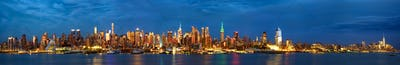 Manhattan skyline panorama at dusk