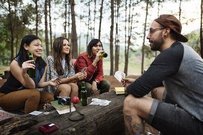 Beer Apple Card Camper Carefree Journey Leisure Concept