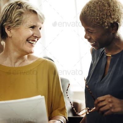 Businesswomen Meeting Discussion Talking Ideas Concept
