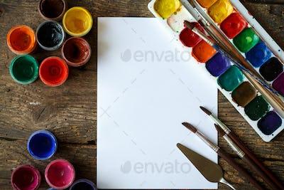 Painting set: paper, brushes, paints, watercolor, acrylic paint