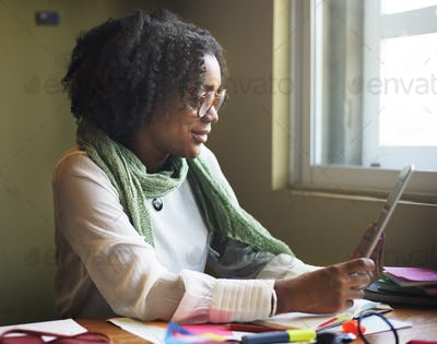 African Woman Using Tablet Communication Concept