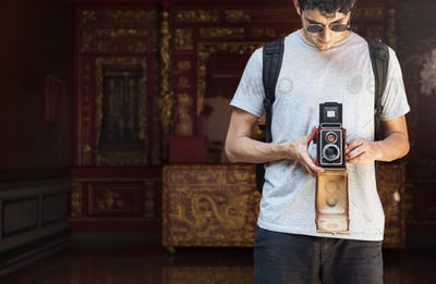 Photographer Traveler Capture Portrait Concept