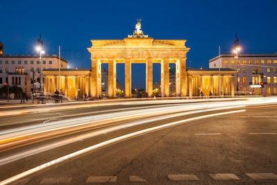 Berlin Brandenburg Gate with traffic