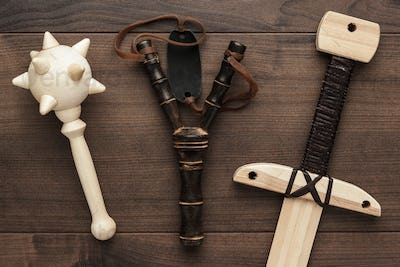handmade wooden training toy sword, mace and slingshot