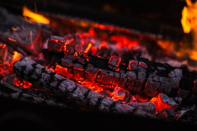 fire flames with sparks on the coals