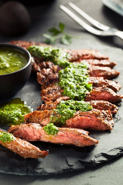 Homemade Cooked Skirt Steak with Chimichurri