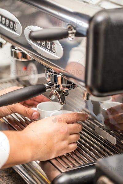 Man bartender make coffee