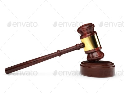 Gavel Isolated on White - 3D Illustration
