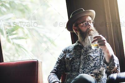 Senior Man Liquor Booze Alcohol Bar Drinking Concept