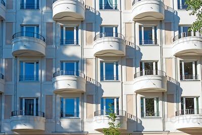Modern facade with balconies